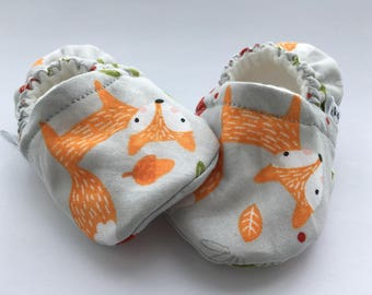 Fox Baby Booties, Baby Shoes, Baby Slippers, Baby Booties, Baby Moccs, Soft Sole, Baby Gift, Baby Booty