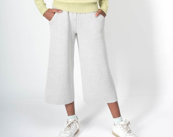 Palazzo pants Wide leg pants Harem pants women Culotte Knitting Merino wool Mother daughter Natural  Culotte pants Gifts for her Wool