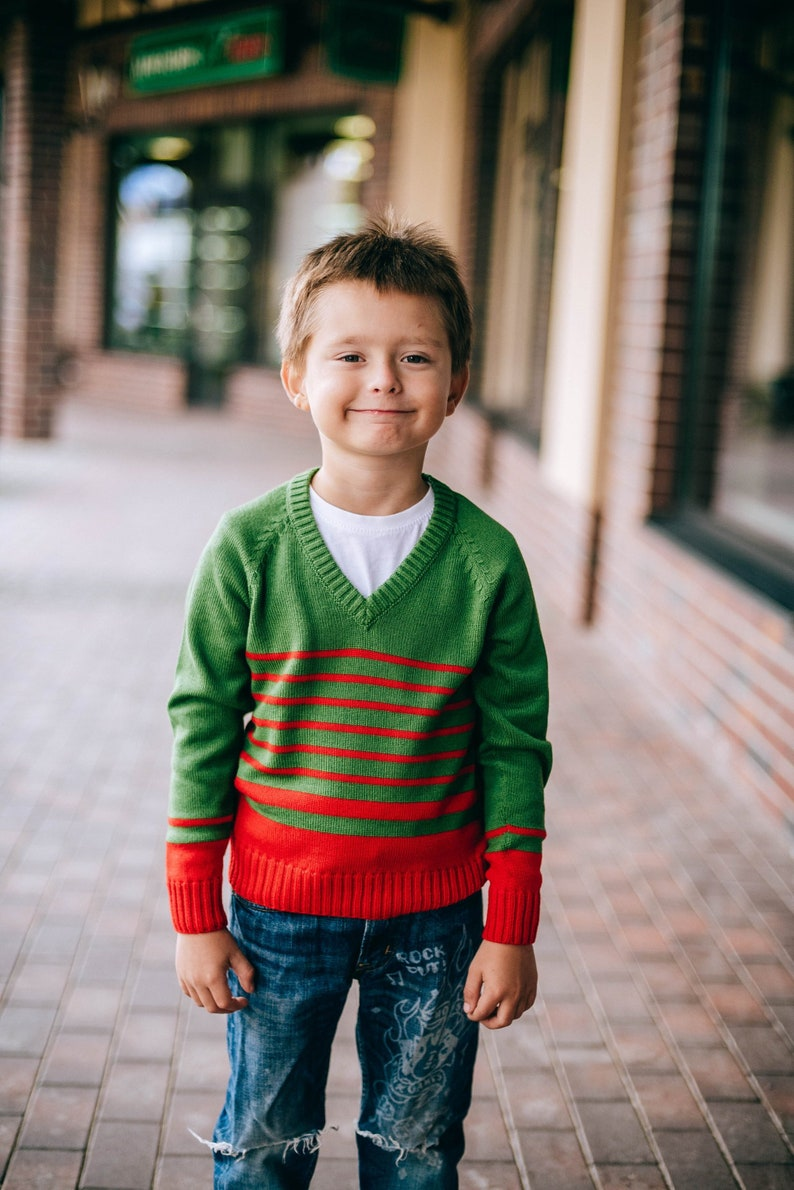 Green Striped V-neck SweaterBoys Merino Long Sleeve PulloverGreen Jumper With Red Stripes