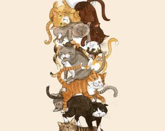 Cat pile print; Watercolour painting; Wall art; Animal art print; Bedroom wall decor; Watercolour art print