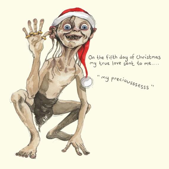 Fünf Goldene Ringe Weihnachtskarte Lustige Weihnachtskarte Humor 5 Weihnachtstag Zwölf Tage Weihnachten Abbildung Gollum Lotr