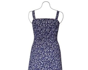 Blue, black, purple and white cotton summer dress