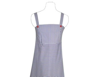 Blue and white cotton summer dress