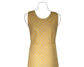 Geometric yellow, grey and white sleeveless dress