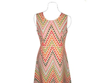 Cotton dress with multicolored geometric patterns