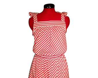 Red and white striped cotton summer dress