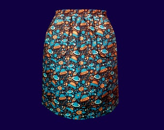 Flying saucers and planets pattern cotton skirt