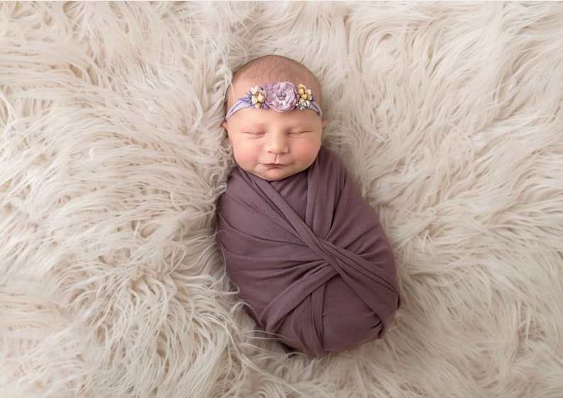 jersey knit fabric Lavender newborn headband and wrap swaddle set photography prop organic baby girl flower band photoshoot props