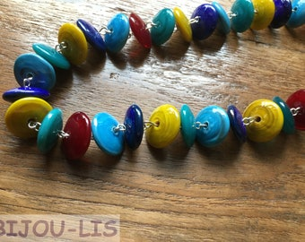 Who's afraid of Red, Yellow, Mermaid and Blue? Handmade Lampwork Disc Necklace.