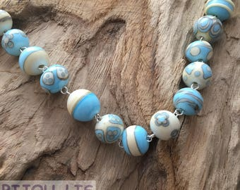 Turquoise and Ivory Fantasy Handmade Artisan Lampwork Beads