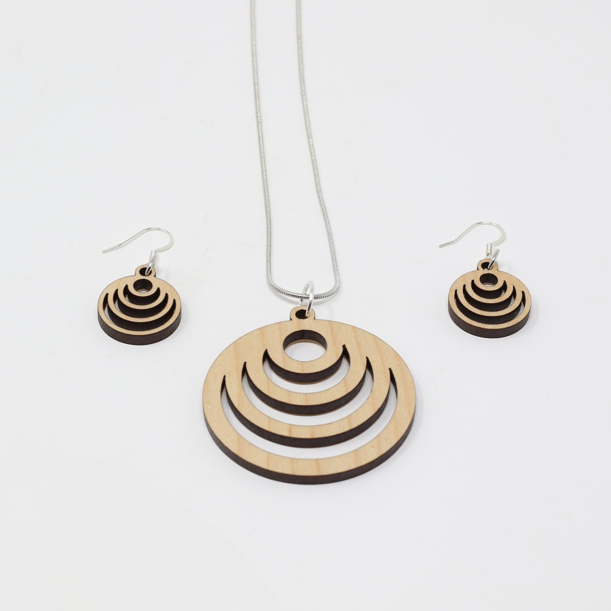Concentric Circle Earrings: Concentric Circles Necklace And Earrings Set