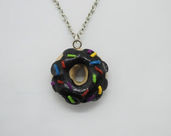 Miniature Chocolate-Frosted Donut Necklace
