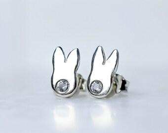 Silver Rabbit Stud Earrings