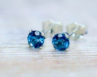 London Blue Topaz Stud Earrings, Gemstone Earrings in Silver, November Birthstone Gift For Her, Birthday Gift Wife
