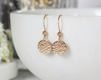 Rose Gold Hammered Disc Earrings