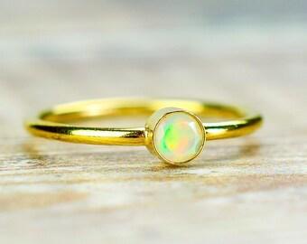 White Opal Ring