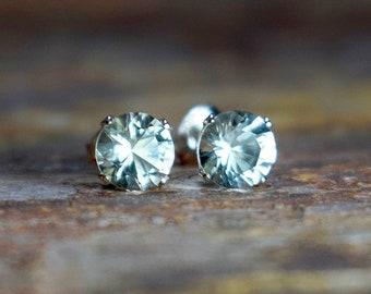 Green Amethyst Stud Earrings in Sterling Silver