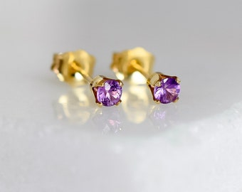 Tiny Purple Sapphire Earrings in Gold Fill