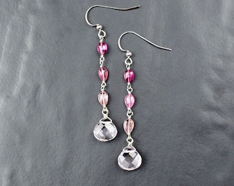 Pink Tourmaline & Rose Quartz Earrings