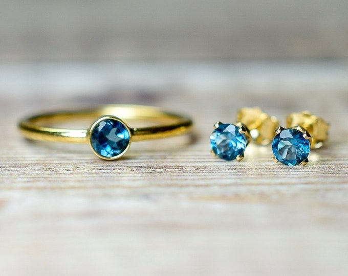 Featured listing image: London Blue Topaz Ring & Stud Earrings Jewelry Set