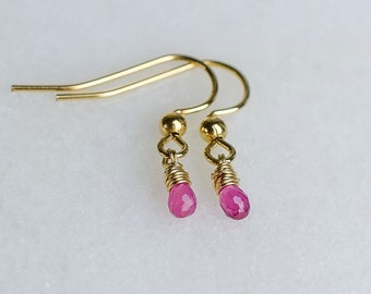 Hot Pink Sapphire Drop Earrings, Dainty Wire Wrapped Gemstone Earrings, Genuine Sapphire Earrings, Minimalist Crystal Earrings, Gift for Her