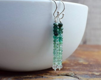 Ombre Emerald & Sterling Silver Dangle Earrings (May Birthstone)