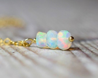 Beaded Ethiopian Opal Drop Necklace