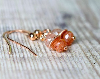 Sunstone Dangle Earrings in Rose Gold Fill