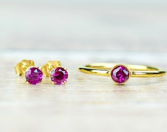 Rhodolite Garnet Ring & Stud Earrings