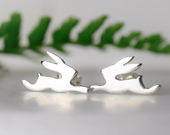 Silver Leaping Hare Stud Earrings