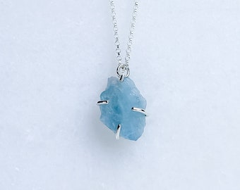Raw Blue Aquamarine Crystal Necklace in Sterling Silver