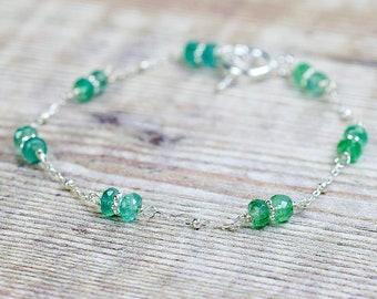Silver Emerald Bracelet, Beaded Emerald Jewelry, Handmade Gemstone Bracelets for Women, Zambian Emerald, Wire Wrapped Bracelet, Gift for Her