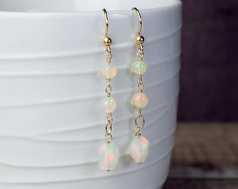 Genuine Opal Statement Earrings