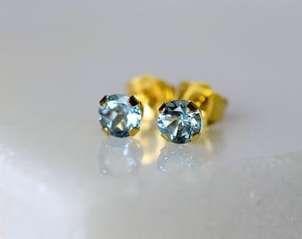 Solid Gold Aquamarine Earrings