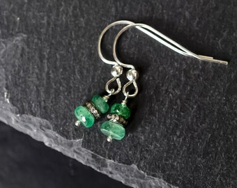 Zambian Emerald & Raw Pave Diamond Earrings in Sterling Silver