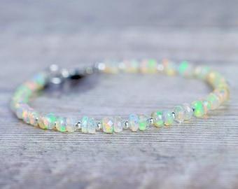 Opal Bracelet in Sterling Silver, Gemstone Bracelets for Women, Beaded Fire Opal Jewelry Handmade, Sister Gift