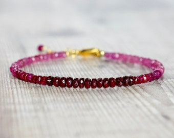Ruby Bracelet in Gold Fill