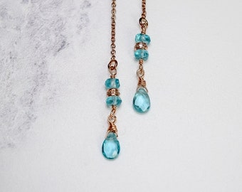Apatite & Pave Diamond Threader Earrings in Rose Gold