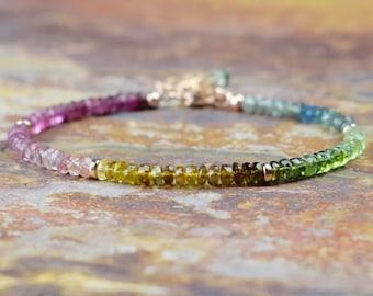 Rainbow Tourmaline & 14k Rose Gold Filled Bracelet