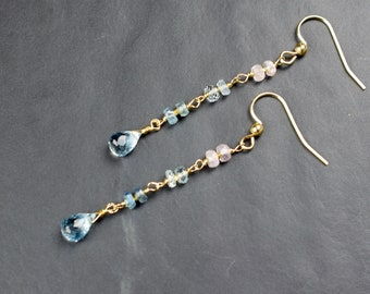 Long Aquamarine Dangle Earrings