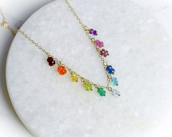Multi Gemstone Floating Necklace