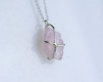 Raw Pink Morganite Necklace