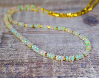 Beaded Fire Opal Necklace