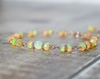Beaded Ethiopian Opal Bracelet in Rose Gold