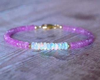 Pink Sapphire & Opal Bracelet