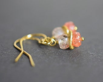 Burnt Orange Sunstone Earrings in Gold Fill