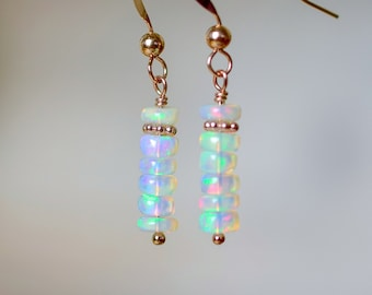 White Opal Dangle Earrings in Rose Gold, Natural Gemstone Earrings, Genuine Ethiopian Opal Jewelry, Boho Earrings, Anniversary Gift Wife