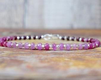 Ruby & Silver Beaded Bracelet