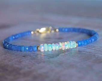 Blue Sapphire & Fire Opal Beaded Bracelet