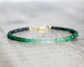 Ombre Emerald Bracelet in Gold
